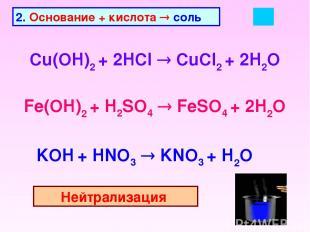 2. Основание + кислота соль Cu(OH)2 + 2HCl CuCl2 + 2H2O Fe(OH)2 + H2SO4 FeSO4 +