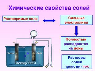 Химические свойства солей Растворимые соли Сильные электролиты Полностью распада