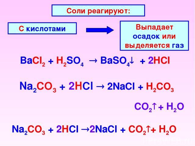 BaCl2 + H2SO4 BaSO4 + 2HCl Соли реагируют: С кислотами Выпадает осадок или выделяется газ Na2CO3 + 2HCl 2NaCl + H2CO3 CO2 + H2O Na2CO3 + 2HCl 2NaCl + CO2 + H2O