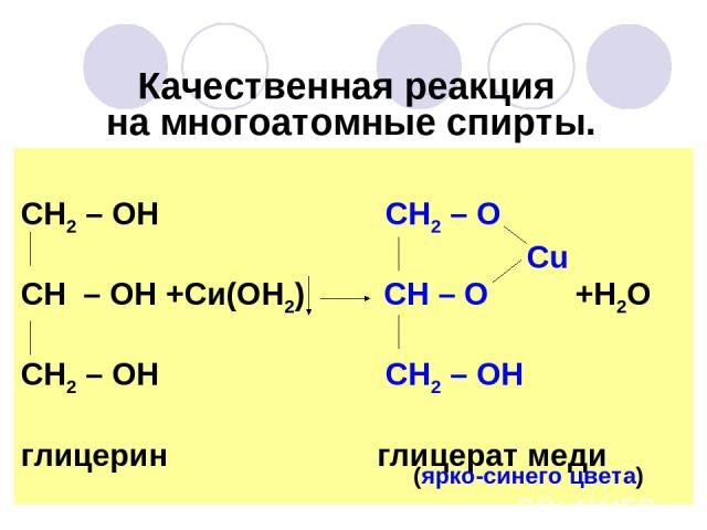 Качественная реакция на многоатомные спирты. СН2 – ОН СН2 – О Сu СН – ОН +Си(ОН2) СН – О +Н2О СН2 – ОН СН2 – ОН глицерин глицерат меди (ярко-синего цвета)