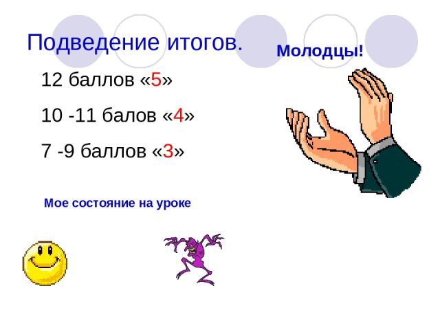 Подведение итогов. Молодцы! 12 баллов «5» 10 -11 балов «4» 7 -9 баллов «3» Мое состояние на уроке