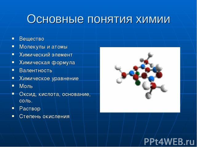 Основные понятия химии Вещество Молекулы и атомы Химический элемент Химическая формула Валентность Химическое уравнение Моль Оксид, кислота, основание, соль. Раствор Степень окисления