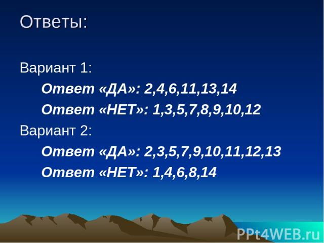 Ответы: Вариант 1: Ответ «ДА»: 2,4,6,11,13,14 Ответ «НЕТ»: 1,3,5,7,8,9,10,12 Вариант 2: Ответ «ДА»: 2,3,5,7,9,10,11,12,13 Ответ «НЕТ»: 1,4,6,8,14