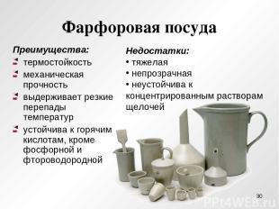 Фарфоровая посуда Преимущества: термостойкость механическая прочность выдерживае