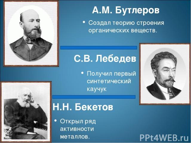 Н.Н. Бекетов Открыл ряд активности металлов. С.В. Лебедев Получил первый синтетический каучук Создал теорию строения органических веществ. А.М. Бутлеров