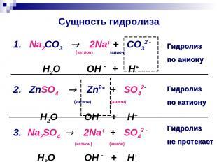Сущность гидролиза 1. Na2CO3 2Na+ + CO32 - (катион) (анион) H2O ⇄ OH - + H+ 2. Z