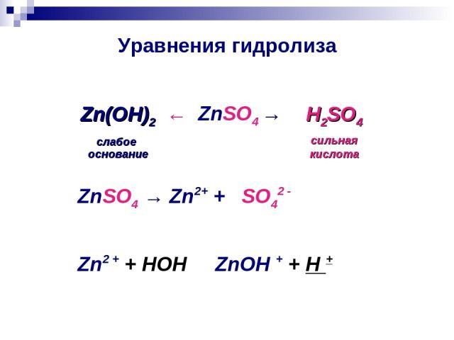 Уравнения гидролиза ← ZnSO4 → Zn(ОН)2 слабое основание H2SO4 сильная кислота ZnSO4 → Zn2+ + SO42 - Zn2 + + HOH ⇄ ZnOH + + H +