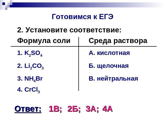 Готовимся к ЕГЭ 2. Установите соответствие: Формула соли Среда раствора 1. K2SO4 А. кислотная 2. Li2CO3 Б. щелочная 3. NH4Br В. нейтральная 4. CrCl3 Ответ: 1В; 2Б; 3А; 4А