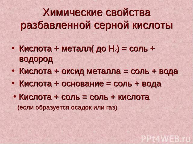Химические свойства разбавленной серной кислоты Кислота + металл( до H2) = соль + водород Кислота + оксид металла = соль + вода Кислота + основание = соль + вода Кислота + соль = соль + кислота (если образуется осадок или газ)