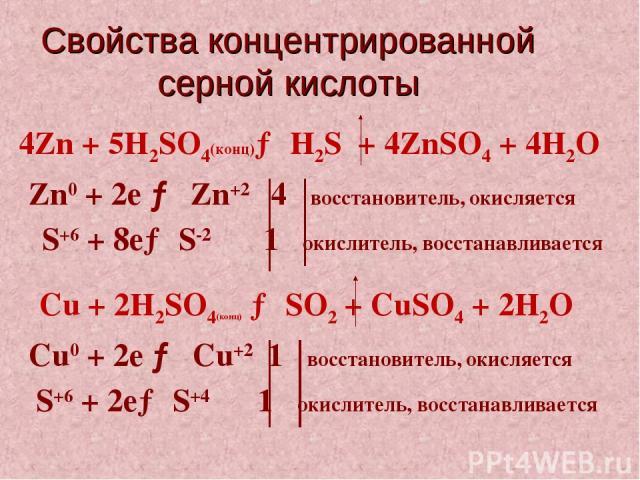 Свойства концентрированной серной кислоты Cu + 2H2SO4(конц) → SO2 + CuSO4 + 2H2О Cu0 + 2е → Cu+2 1 восстановитель, окисляется S+6 + 2е→ S+4 1 окислитель, восстанавливается 4Zn + 5H2SO4(конц)→ H2S + 4ZnSO4 + 4H2О Zn0 + 2е → Zn+2 4 восстановитель, оки…