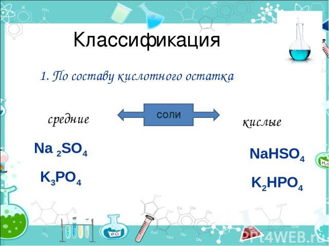 Классификация 1. По составу кислотного остатка СОЛИ средние кислые Na 2SO4 K3PO4 NaHSO4 K2HPO4