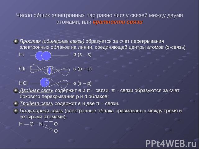 Число общих электронных пар равно числу связей между двумя атомами, или кратности связи Простая (одинарная связь) образуется за счет перекрывания электронных облаков на линии, соединяющей центры атомов (ϭ-связь) Н2 ϭ (s – s) Сl2 ϭ (р – р) НCl ϭ (s –…