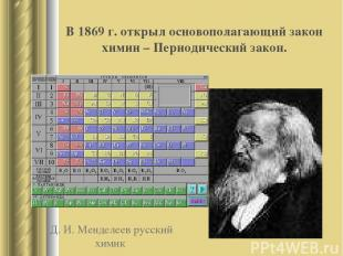Д. И. Менделеев русский химик В 1869 г. открыл основополагающий закон химии – Пе