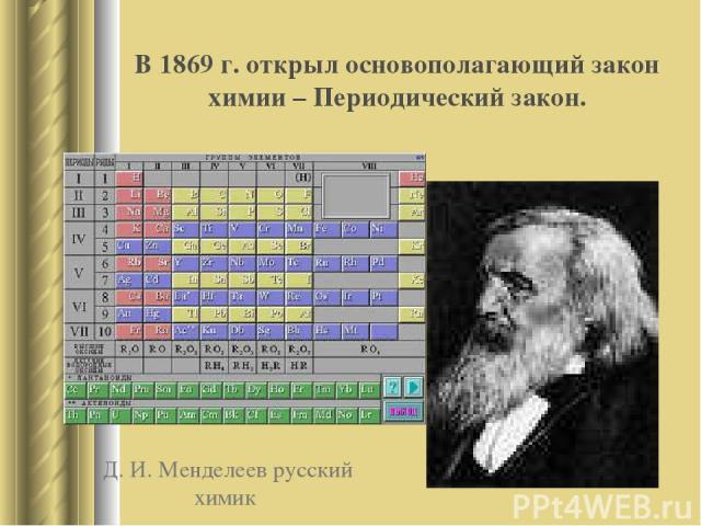 Д. И. Менделеев русский химик В 1869 г. открыл основополагающий закон химии – Периодический закон.
