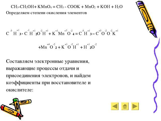 CH3-CH2OH+ KMnO4 = CH3 - COOK + MnO2 + KOH + H2O Определяем степени окисления элементов C -3 H+13 - C-1H+12O-2H+1+ K+1Mn+7O-24 = C-3H+13 – C+3O-2O-2K+1 +Mn+4O-22 + K+1O-2H+1 + H+12O-2 Составляем электронные уравнения, выражающие процессы отдачи и пр…