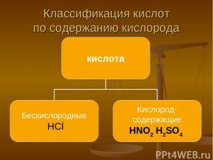 Классификация кислот по содержанию кислорода