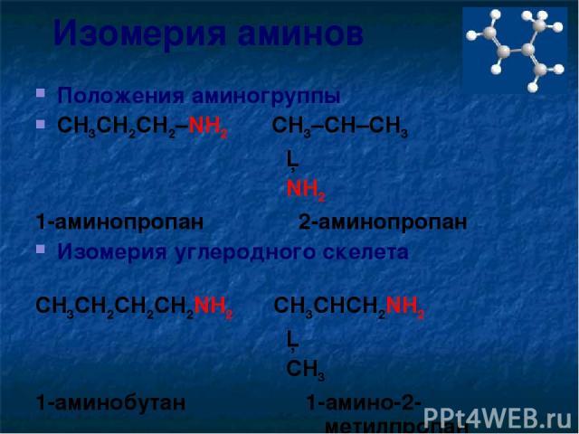 Изомерия аминов Положения аминогруппы CH3CH2CH2–NH2 CH3–CH–CH3 │ NH2 1-аминопропан 2-аминопропан Изомерия углеродного скелета CH3CH2CH2CH2NH2 CH3CHCH2NH2 │ CH3 1-аминобутан 1-амино-2- метилпропан