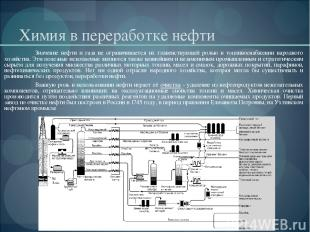 Химия в переработке нефти Значение нефти и газа не ограничивается их главенствую