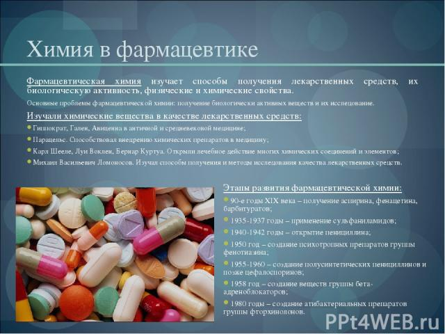 Химия медицинских препаратов