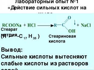 Лабораторный опыт №1 «Действие сильных кислот на мыло» Л Стеарат натрия Стеарино