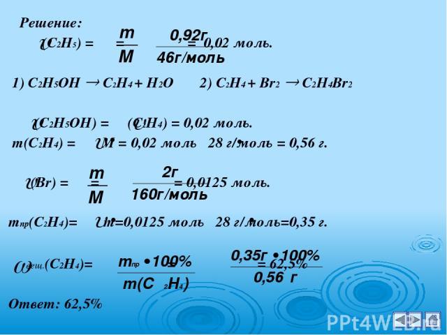 Решение: (С2Н5) = = = 0,02 моль. 1) С2Н5ОН С2Н4 + Н2О 2) С2Н4 + Br2 C2H4Br2 (С2Н5ОН) = (С2Н4) = 0,02 моль. m(С2Н4) = M = 0,02 моль 28 г/моль = 0,56 г. (Br) = = = 0,0125 моль. mпр(С2Н4)= m=0,0125 моль 28 г/моль=0,35 г. вещ.(С2Н4)= = = 62,5% Ответ: 62,5%