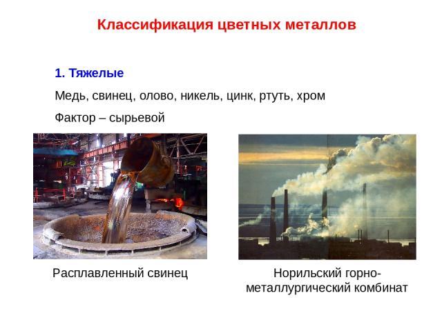 Классификация цветных металлов 1. Тяжелые Медь, свинец, олово, никель, цинк, ртуть, хром Фактор – сырьевой Норильский горно-металлургический комбинат Расплавленный свинец