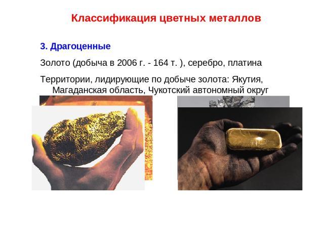Классификация цветных металлов 3. Драгоценные Золото (добыча в 2006 г. - 164 т. ), серебро, платина Территории, лидирующие по добыче золота: Якутия, Магаданская область, Чукотский автономный округ