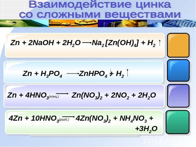 Zn + 2NaOH + 2H2O Na2 [Zn(OH)4] + H2 Zn + H3PO4 ZnHPO4 + H2 Zn + 4HNO3(конц.) Zn(NO3)2 + 2NO2 + 2H2O 4Zn + 10HNO3(разб.) 4Zn(NO3)2 + NH4NO3 + +3H2O