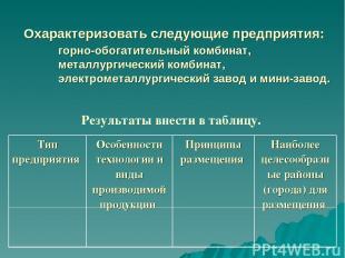 Охарактеризовать следующие предприятия: горно-обогатительный комбинат, металлург