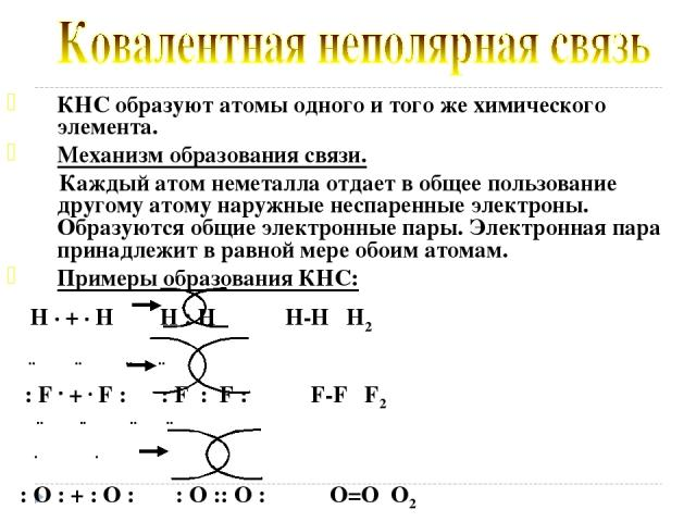 КНС образуют атомы одного и того же химического элемента. Механизм образования связи. Каждый атом неметалла отдает в общее пользование другому атому наружные неспаренные электроны. Образуются общие электронные пары. Электронная пара принадлежит в ра…