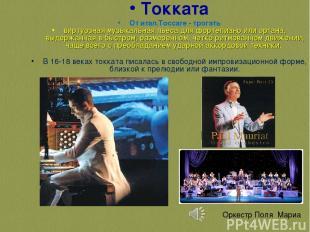 Токката От итал.Toccare - трогать виртуозная музыкальная пьеса для фортепиано ил
