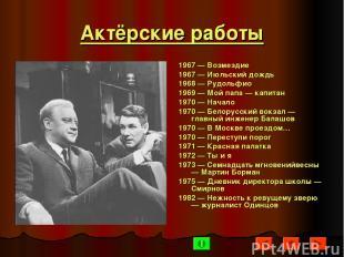 Актёрские работы 1967 — Возмездие 1967 — Июльский дождь 1968 — Рудольфио 1969 —
