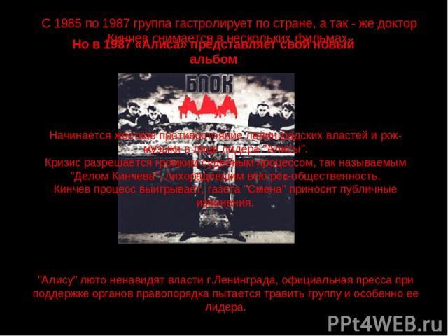 С 1985 по 1987 группа гастролирует по стране, а так - же доктор Кинчев снимается в нескольких фильмах. Но в 1987 «Алиса» представляет свой новый альбом