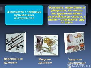 Ударные инструменты Деревянные духовые Медные духовые