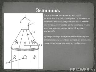 В верхней части колоколен, их шахтах(1) располагают «слухи»(2)-отверстия , убыва