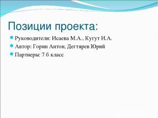 Позиции проекта: Руководители: Исаева М.А., Кугут И.А. Автор: Горин Антон, Дегтя