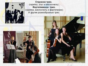 Струнное трио. (скрипка, альт и виолончель); Фортепианное трио. (скрипка, виоло