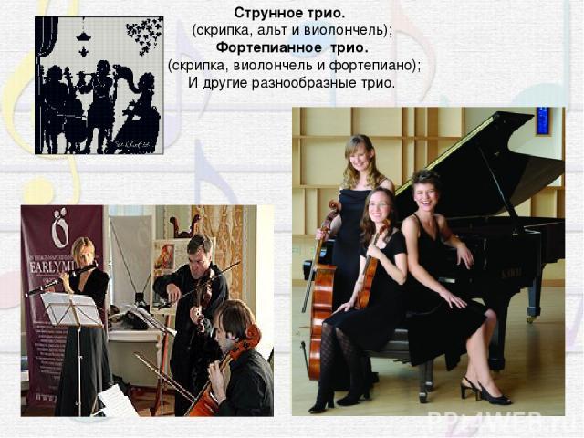 Струнное трио. (скрипка, альт и виолончель); Фортепианное трио. (скрипка, виолончель и фортепиано); И другие разнообразные трио.