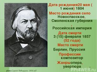 * Датарождения20мая (1июня) 1804 Месторождения село Новоспасское, Смоленская