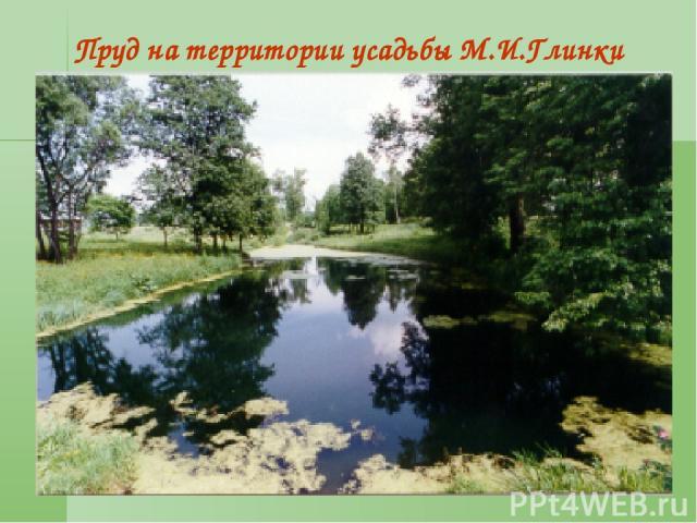 * Пруд на территории усадьбы М.И.Глинки