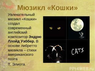 Мюзикл «Кошки» Увлекательный мюзикл «Кошки» создал современный английский композ