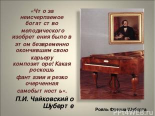 Рояль Франца Шуберта «Что за неисчерпаемое богатство мелодического изобретения б