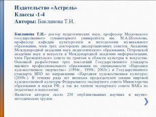 Издательство «Астрель» Классы -1-4 Авторы: Бакланова Т.И. Бакланова Т.И.- доктор