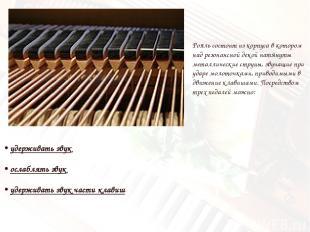 • удерживать звук • ослаблять звук • удерживать звук части клавиш Рояль состоит