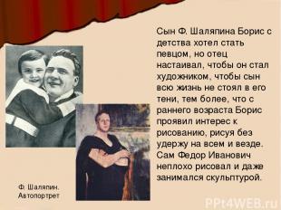 Сын Ф. Шаляпина Борис с детства хотел стать певцом, но отец настаивал, чтобы он