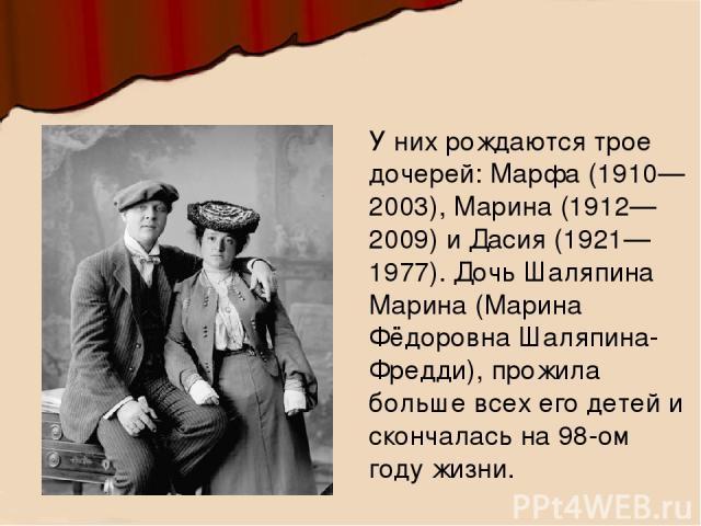 У них рождаются трое дочерей: Марфа (1910—2003), Марина (1912—2009) и Дасия (1921—1977). Дочь Шаляпина Марина (Марина Фёдоровна Шаляпина-Фредди), прожила больше всех его детей и скончалась на 98-ом году жизни.