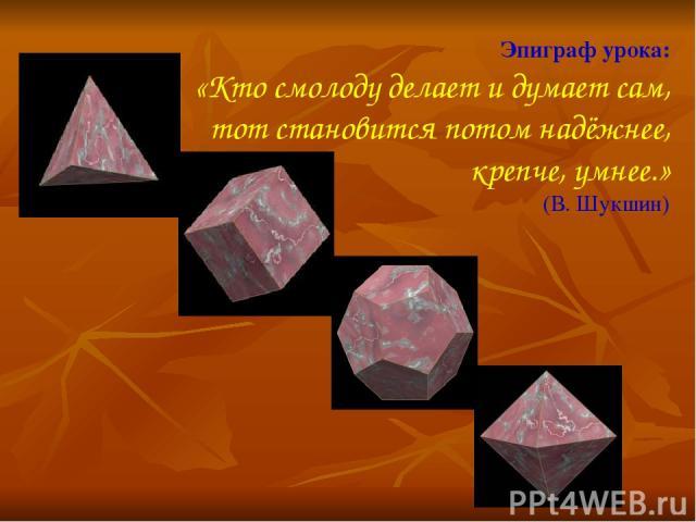 Эпиграф урока: «Кто смолоду делает и думает сам, тот становится потом надёжнее, крепче, умнее.» (В. Шукшин)