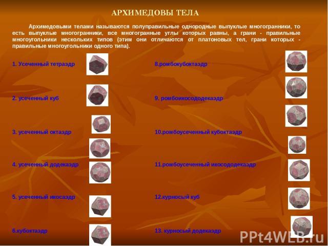 АРХИМЕДОВЫ ТЕЛА Архимедовыми телами называются полуправильные однородные выпуклые многогранники, то есть выпуклые многогранники, все многогранные углы которых равны, а грани - правильные многоугольники нескольких типов (этим они отличаются от платон…