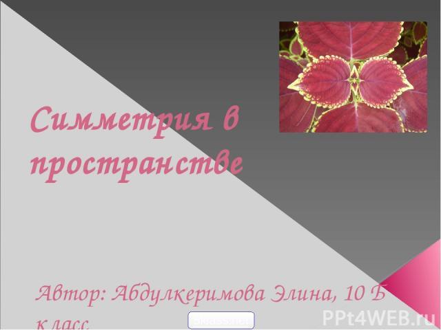 Симметрия в пространстве Автор: Абдулкеримова Элина, 10 Б класс 5klass.net