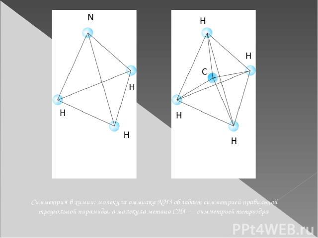 Симметрия в химии: молекула аммиака NH3 обладает симметрией правильной треугольной пирамиды, а молекула метана CH4 — симметрией тетраэдра